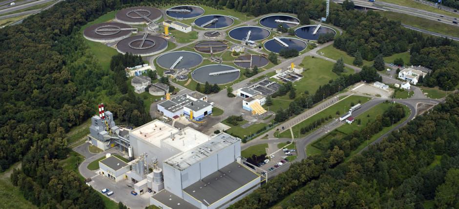 Vue aerienne Sausheim sivom station epuration usine incineration