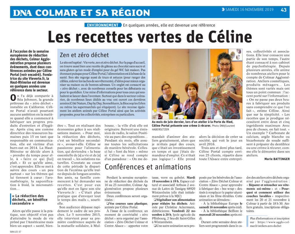 article DNA les recettes vertes de Céline vieverte.fr
